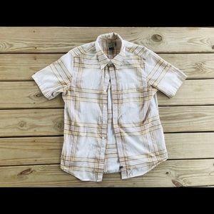 Men's O'Neill Button Down Shirt Brown/White Sz S
